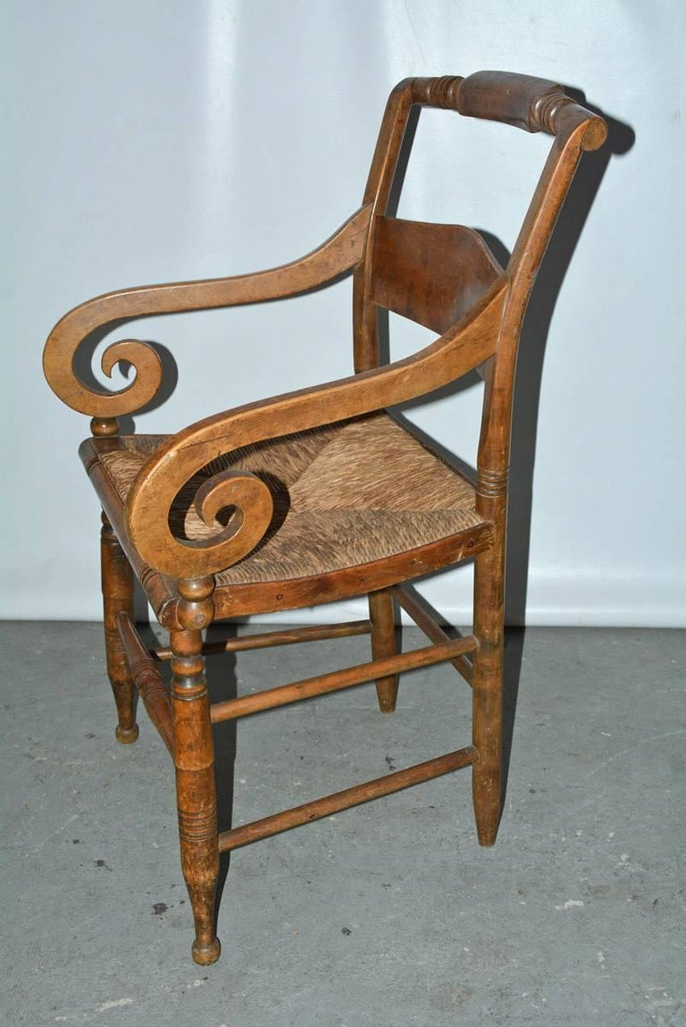 American Empire American Country Dining Arm Chair with Raffia Seat For Sale