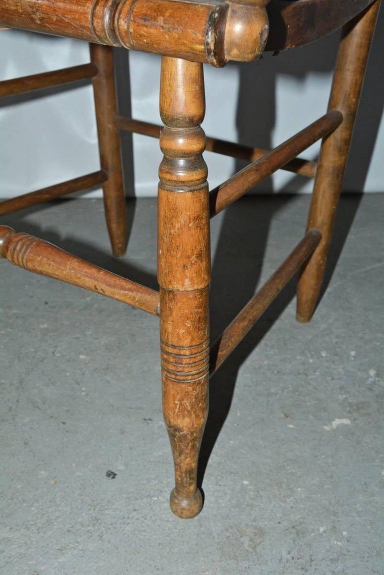 19th Century American Country Dining Arm Chair with Raffia Seat For Sale