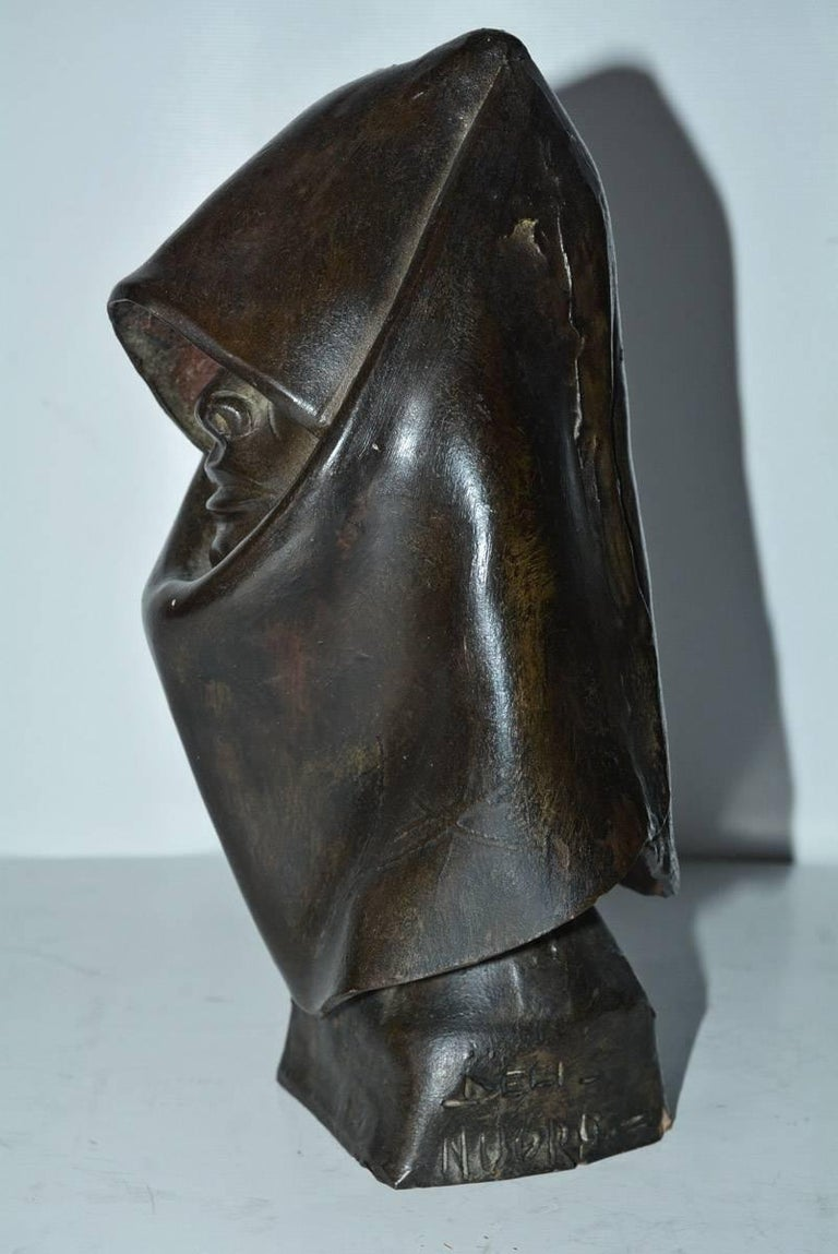 Unknown Contemporary Clay Hooded Female Head Sculpture For Sale