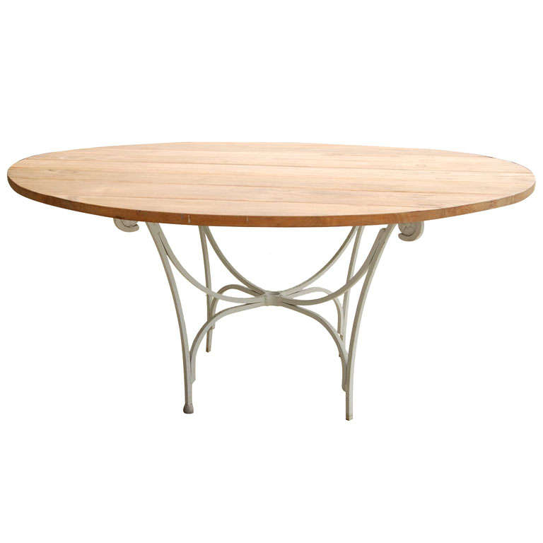 Indoor or Outdoor Round Teak and Metal Base Garden Dining Table For Sale