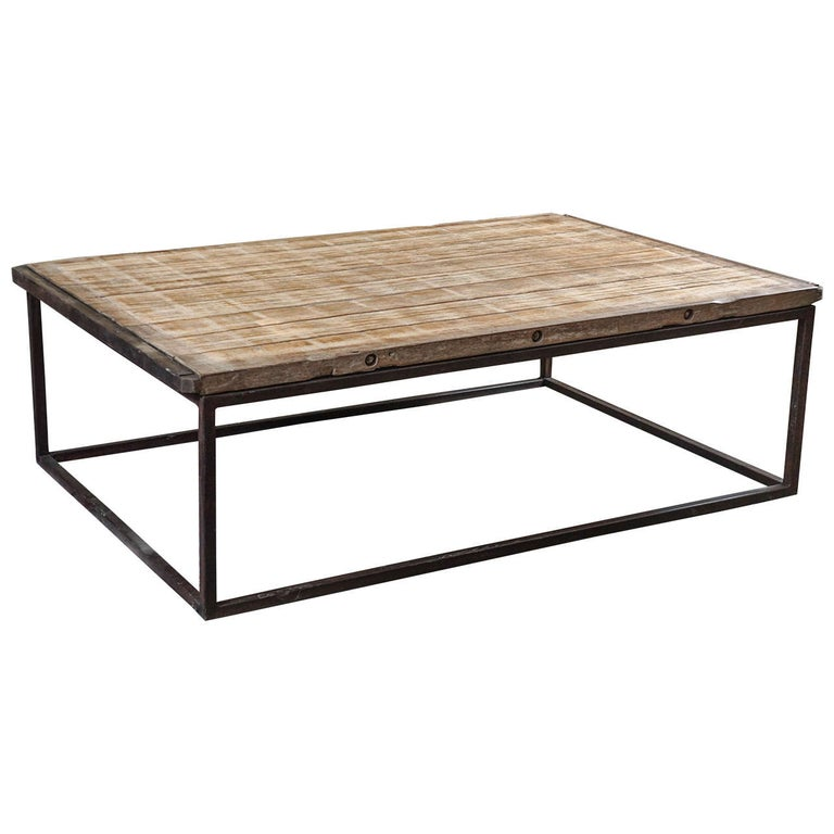Industrial-Style Plank Top Coffee Table