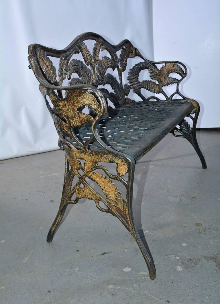 High Victorian Victorian Cast-Iron Fern Leaf Motif Garden Settee For Sale