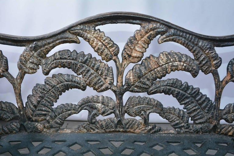 Victorian Cast-Iron Fern Leaf Motif Garden Settee For Sale 1