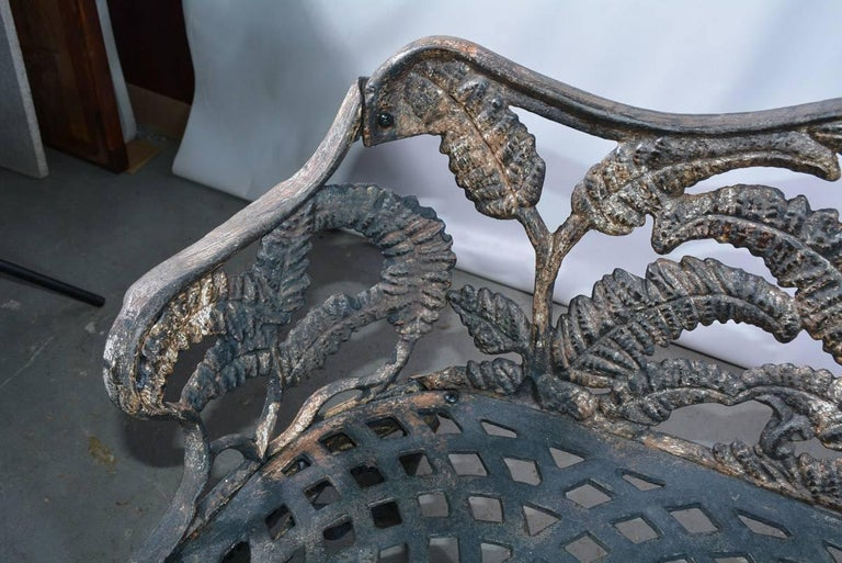 19th Century Victorian Cast-Iron Fern Leaf Motif Garden Settee For Sale