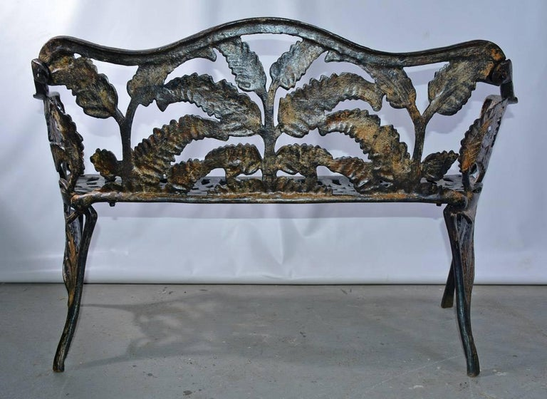 Victorian Cast-Iron Fern Leaf Motif Garden Settee In Good Condition For Sale In Great Barrington, MA