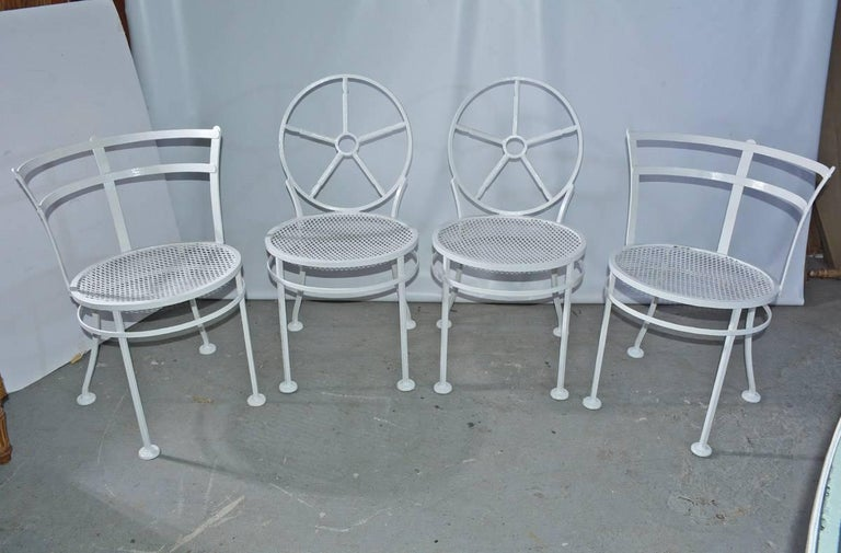 20th Century Oval Metal and Glass Midcentury Patio/Porch Garden Table and Four Dining Chairs For Sale