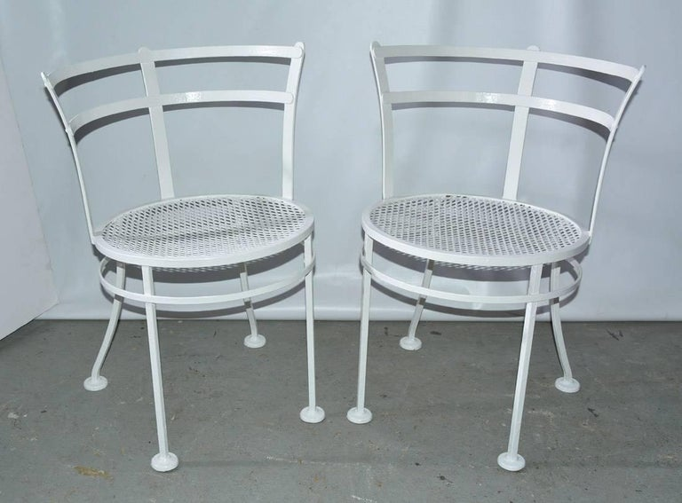 Oval Metal and Glass Midcentury Patio/Porch Garden Table and Four Dining Chairs For Sale 2
