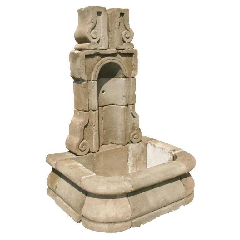 Cast Concrete French Style Wall Fountain For Sale
