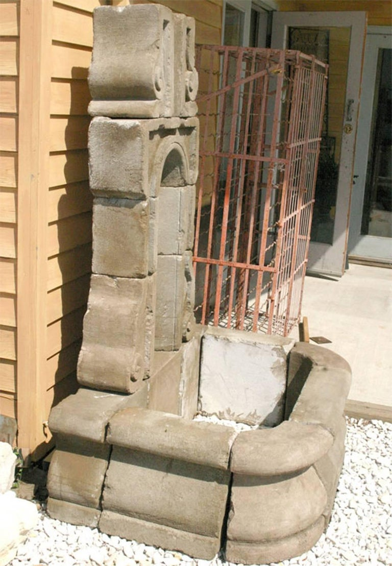 Cast Concrete French Style Wall Fountain For Sale 1