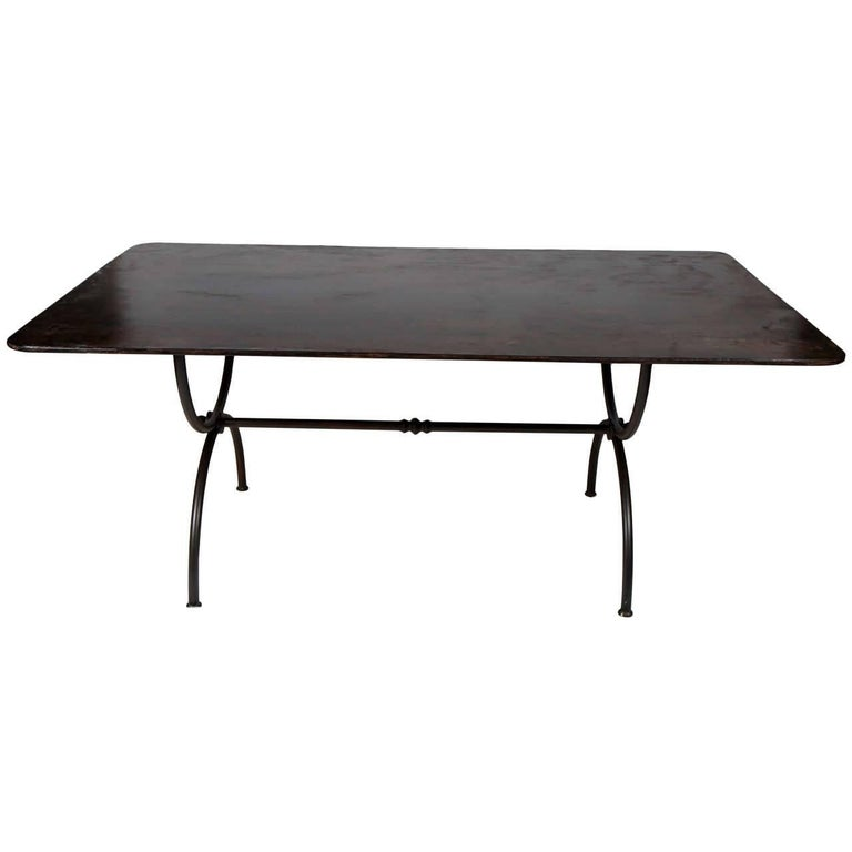 Indoor/Outdoor Metal Top and Base Garden Dining Table For Sale