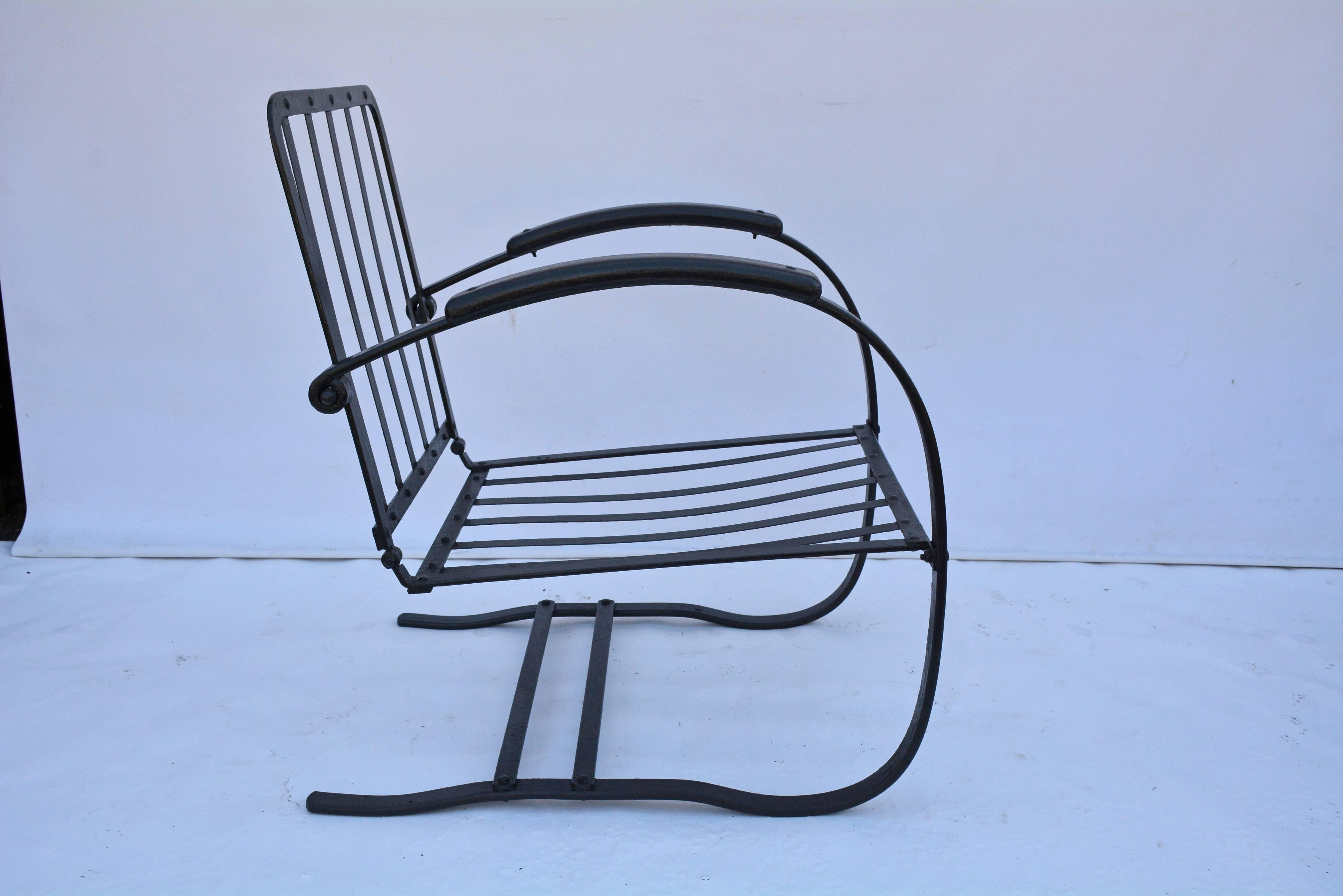 Three Vintage Wrought Iron Patio Spring Chairs
