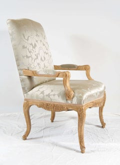 Louis XIV Style Chair, Silk Damask Upholstery