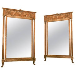 Pair of Empire Style Gilt Italian Mirror with Griffins