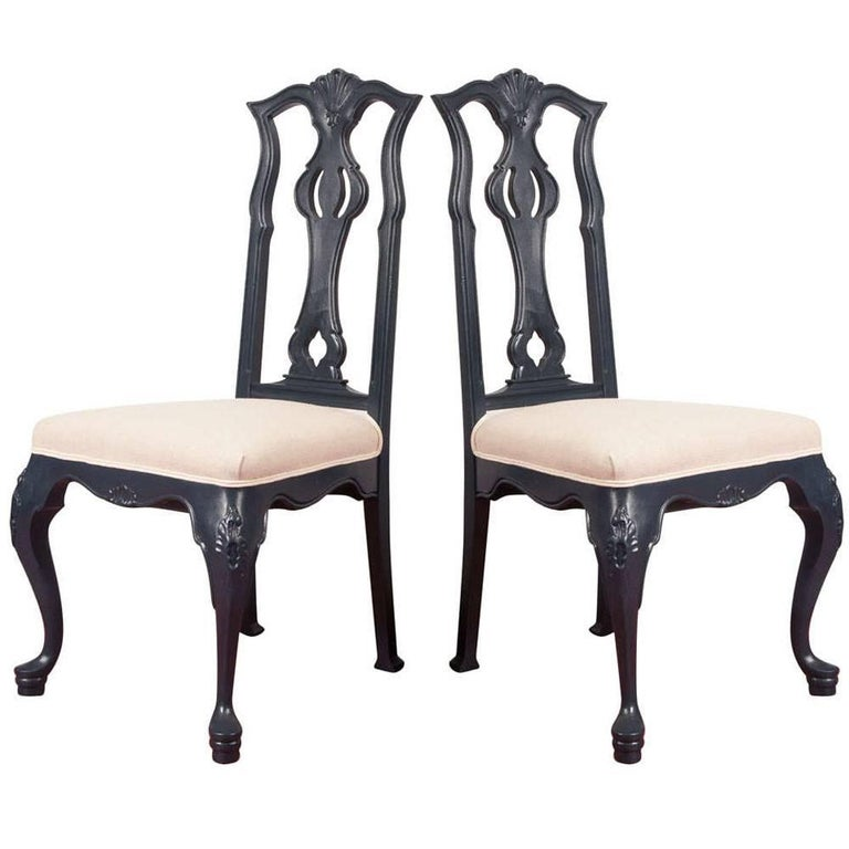 Venetian Rococo Style Painted Side Chairs, Pair