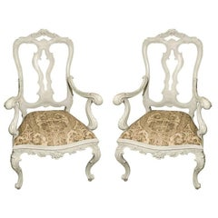 Pair of Blue-Grey Painted Venetian Rococo Style Armchairs