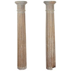 Pair of Classical Tuscan Wood Columns