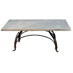 Wrought Iron and Stone Garden Coffee Table