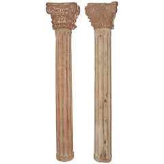 Pair of Antique Pilasters and Matching Corinthian Capitals