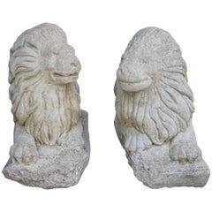 Pair of Sculpted Stone Lion Garden Statues
