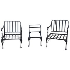 Vintage Outdoor Porch or Garden Lounge Chairs with Matching Table