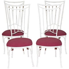 Four Painted Faux Bamboo Wrought Iron Garden Dining Chairs