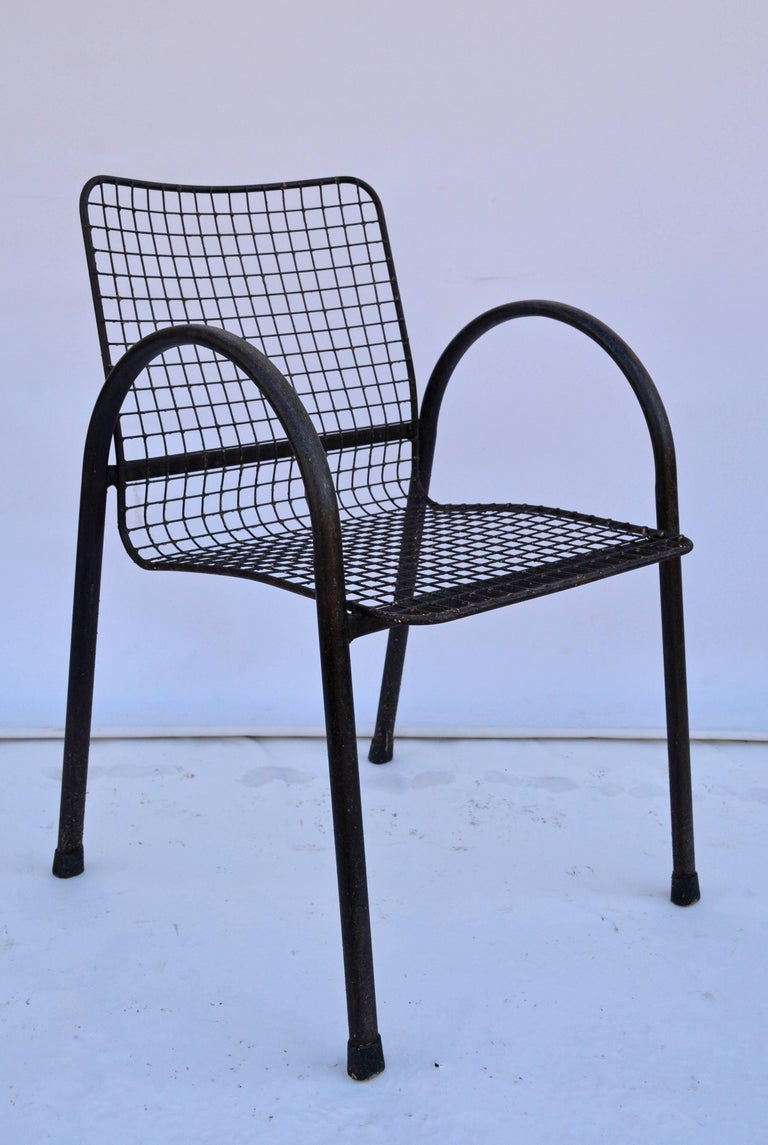 American Four Patio Wrought Iron Mesh Armchairs For Sale
