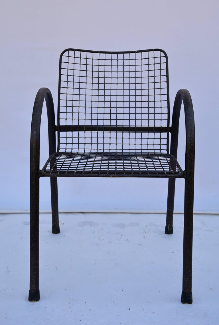 Other Four Patio Wrought Iron Mesh Armchairs For Sale