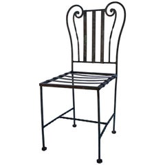 Lyre-Style Wrought-Iron Cafe Garden Chair