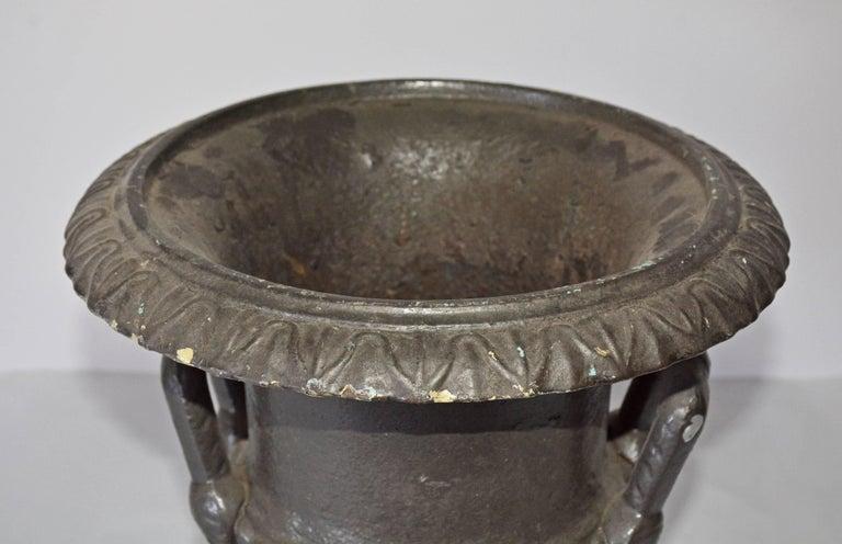 Classical Roman Antique Cast Iron Garden Urn For Sale