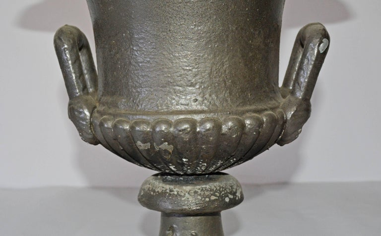 American Antique Cast Iron Garden Urn For Sale