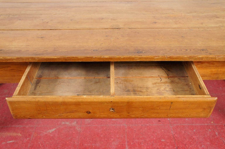 Rustic 19th Century English Pine Country Dining Table For Sale