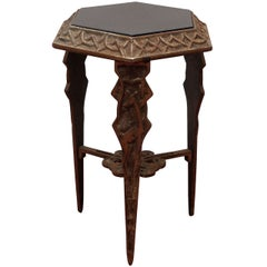 Art Deco Metal/Black Stone Side Table