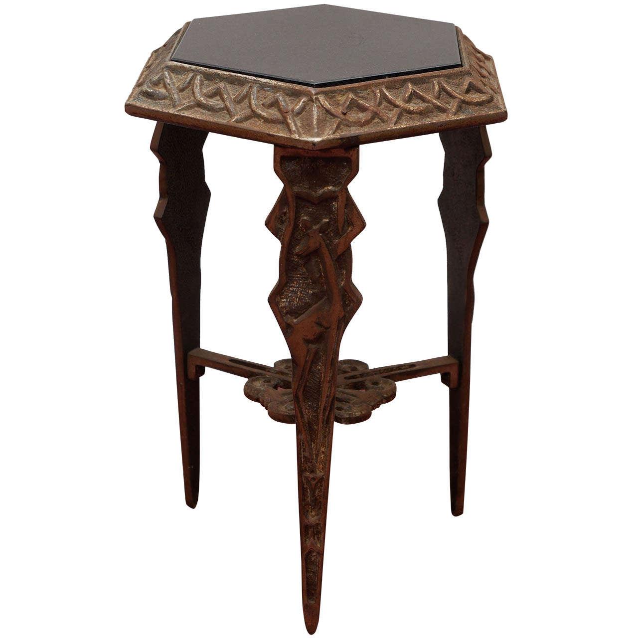 Exceptionnel Art Deco Metal/Black Stone Side Table