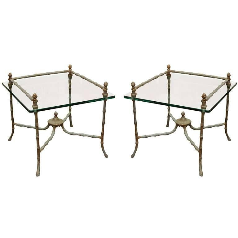 Pair of Giacometti Style End Tables For Sale