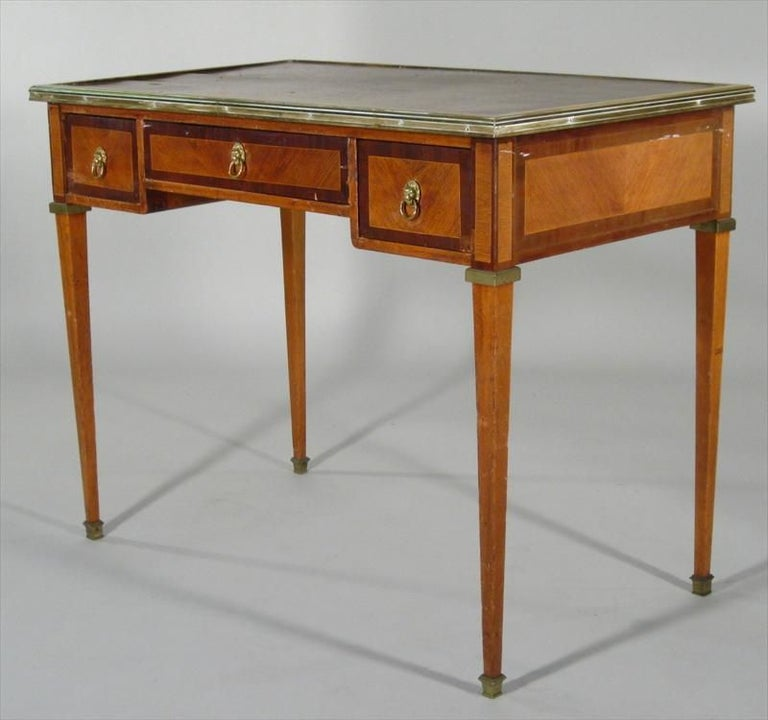 Directoire Maison Jansen style desk. Label inside drawer inscribed