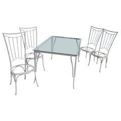 Faux Bamboo Metal Garden Dining Set