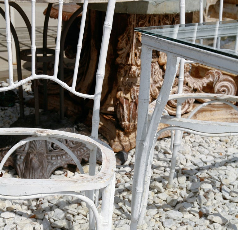 American Faux Bamboo Metal Garden Dining Set For Sale