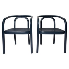 Set of Four Navy Painted Bentwood Armchairs