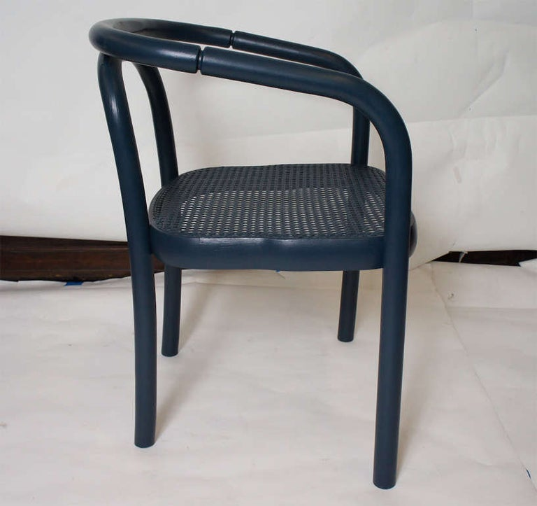 American Set of Four Navy Painted Bentwood Armchairs For Sale