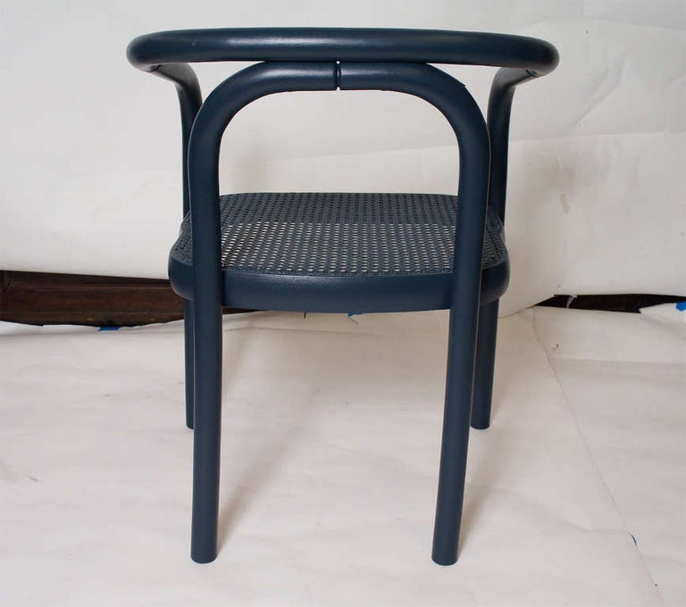 Set of Four Navy Painted Bentwood Armchairs In Excellent Condition For Sale In Great Barrington, MA