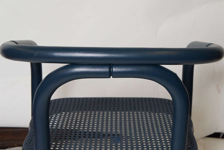 20th Century Set of Four Navy Painted Bentwood Armchairs For Sale