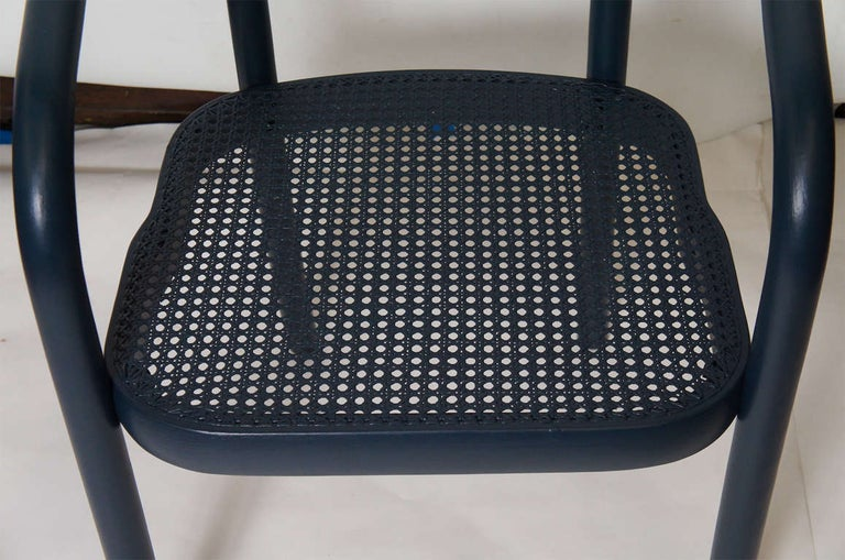 Wood Set of Four Navy Painted Bentwood Armchairs For Sale
