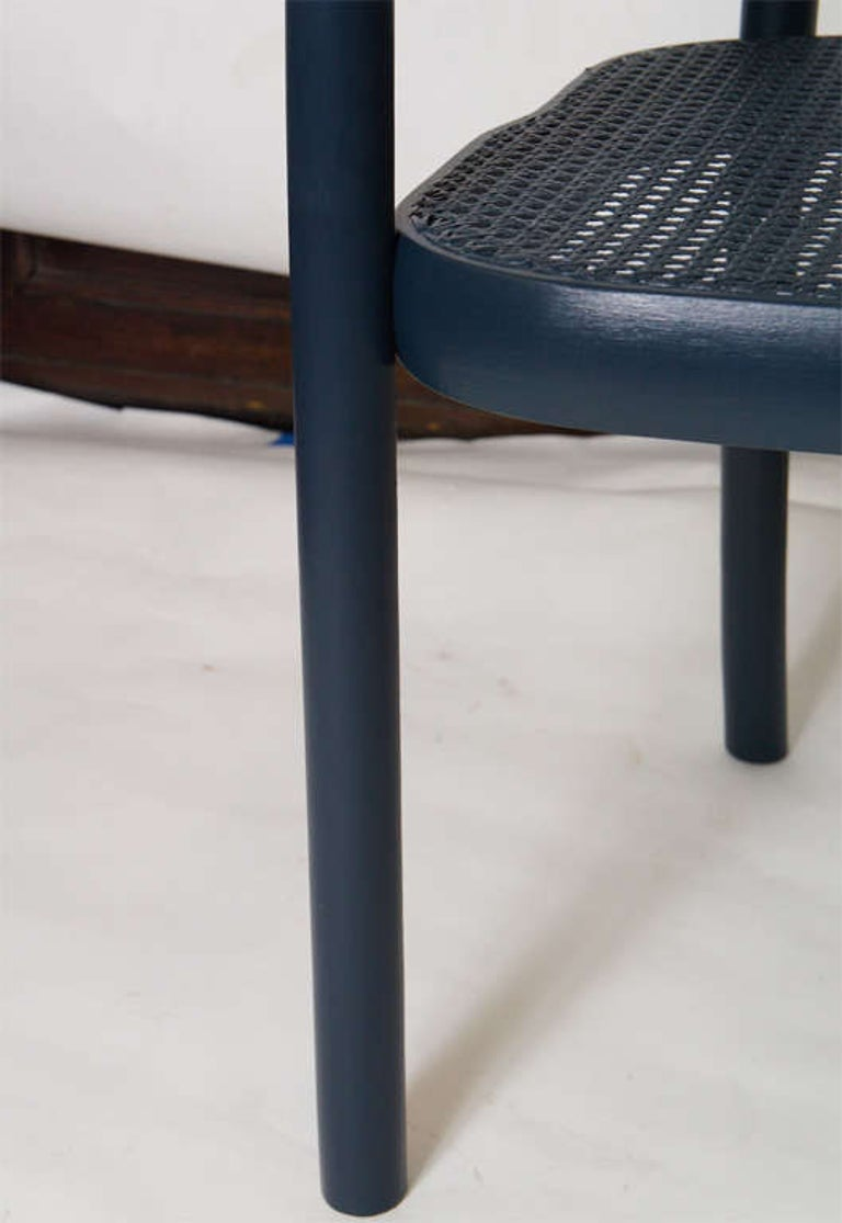 Set of Four Navy Painted Bentwood Armchairs For Sale 1
