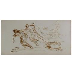 John Groth, Men Pulling Turtle, Ink Wash
