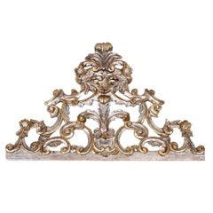 Hand-Carved Silver Giltwood Decorative Sculpture