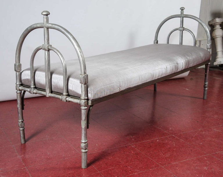 Metal Upholstered Bench In Excellent Condition For Sale In Great Barrington, MA