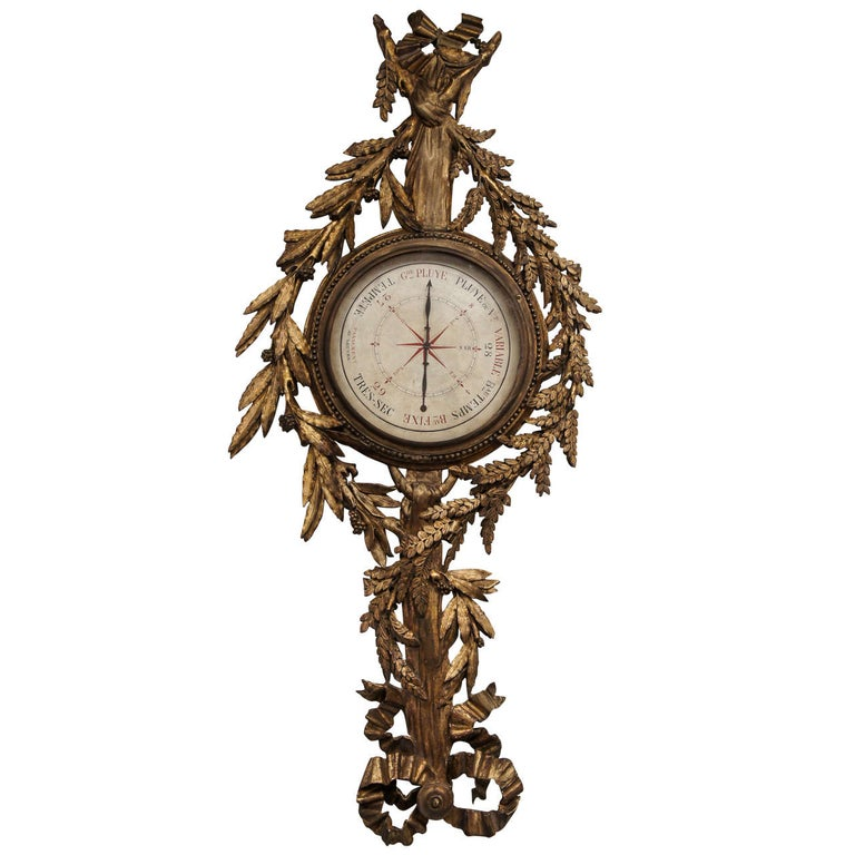 18th Century French Giltwood Barometer For Sale