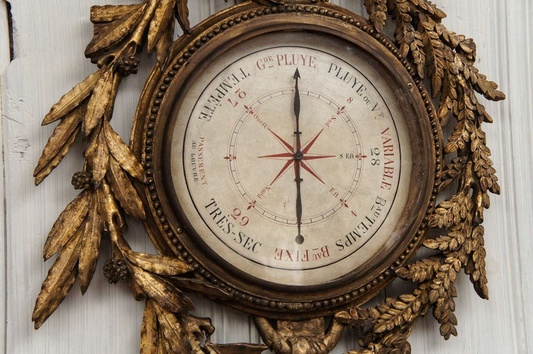18th Century French Giltwood Barometer For Sale 1