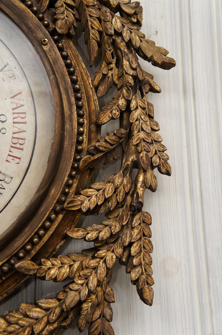 18th Century French Giltwood Barometer For Sale 2