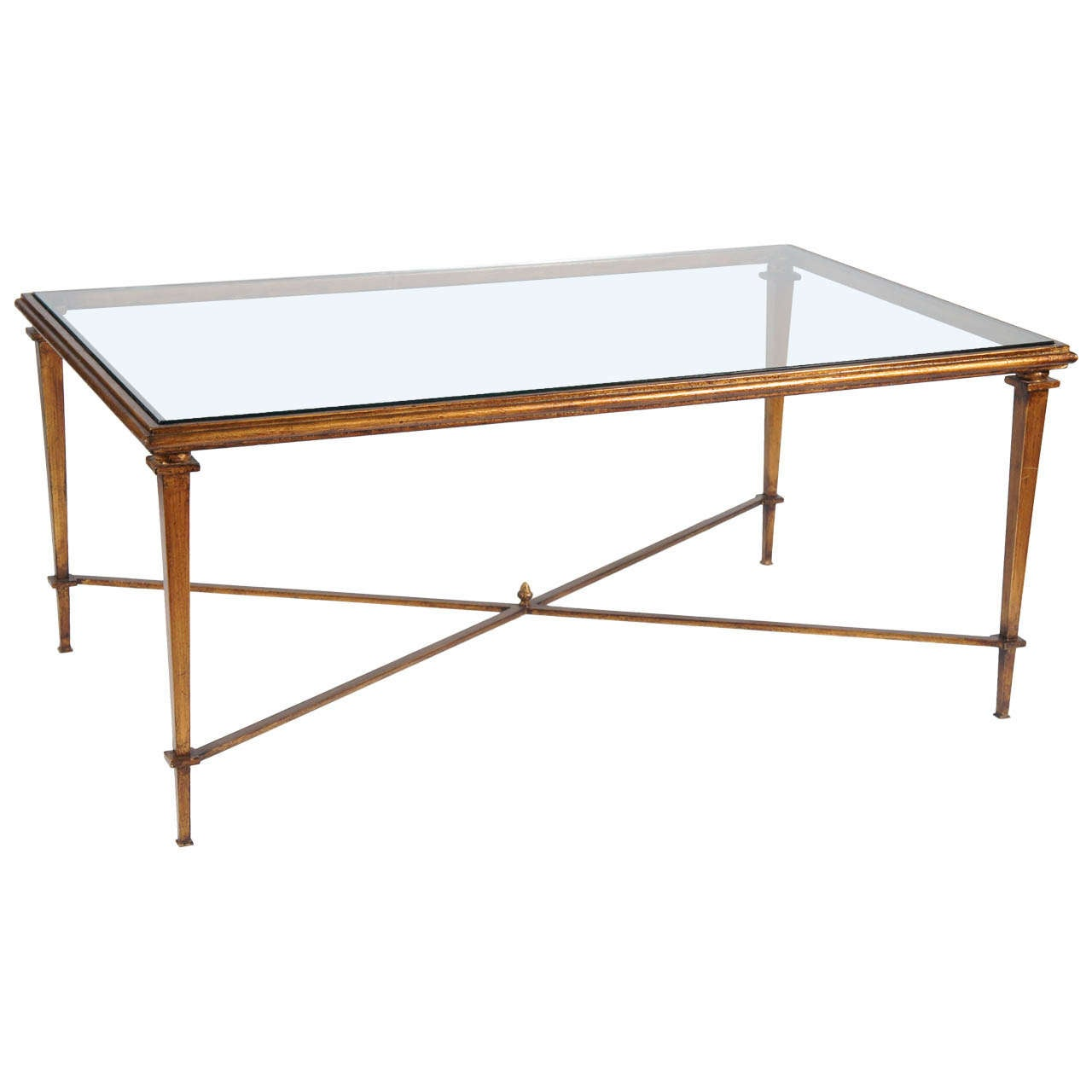 Neoclassical Style Metal Coffee Table With Glass Top